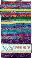 """Island Batik Sweet Nectar Purple Blue Pink Jelly Roll Strips Pack 40 2.5"""""""