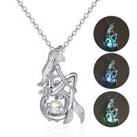 Luminous Women Mermaid Locket Pendant Charm Necklace Glow In The Dark Jewelry
