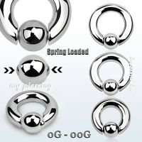 2pcs  Surgical Steel Spring Loaded Captive Bead Ring Hoop Septum Earrings 8g-00g