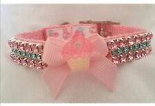 Pet Collar Rhinestone Cupcake Small dog collar cat collar Custom Sizes