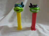 PEZ Lot Ninja Turtles Happy Leonardo Yellow / Angry Donatello Purple ~ Series A