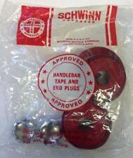 Schwinn RED road bike HANDLEBAR TAPE and CHROME plugs Varsity Paramount