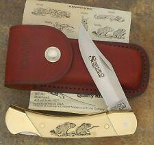 SCHRADE + USA MADE SCRIMSHAW 1985 BEARS JUMBO LOCKBACK KNIFE WITH SHEATH