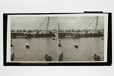Port de Lisbonne Portugal Grande plaque stéréo Stereoview Vintage