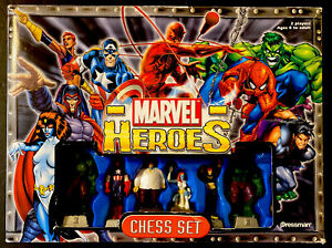 Marvel Heroes Chess Set  Pressman 2003 Complete Set with Board