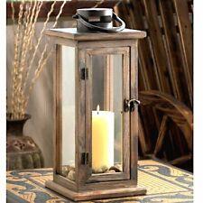 Rustic Wood Lantern Large Aged wood Candleholder Wedding Centerpiece
