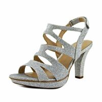 Naturalizer Womens Dianna Open Toe Casual Strappy Sandals, Silver, Size 6.5 3UR7