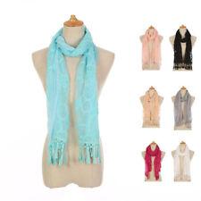 Casaba Womens Elegant Lace Scarves Scarf Shawl Formal Bridal Fringe Sheer Wrap