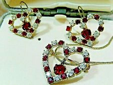 Vintage Austrian Crystal Red Heart Clip Earrings & Pendent-Brooch Set