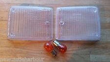 VW CAMPER T2 CLEAR FRONT INDICATOR LENSES +Bulbs '72-79 Late Bay Bus Van Type 2+
