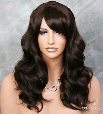 Human Hair Blend Long Dark Brown Wavy Striking Wig full bangs HEAT SAFE 4 wii