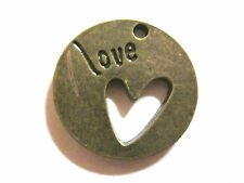 "2 o 4 Bronce charms/pendants ""amor"" Con Corte Corazón 22mm Valentine's Day"