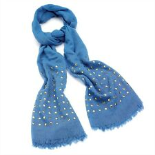 Light Blue Scarf With Gold Coloured Studs RRP £10.00 - Brand New With Tag