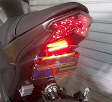 Kawasaki Z125 Pro SS Fender Eliminator Kit w/ Red LED Turn Signal Light Bar; SMK