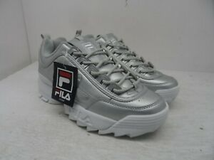 FILA Women's Lace-Up Low Disruptor Casual Sneakers Silver Size 8.5M