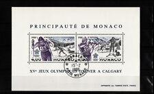 MONACO  bloc   jeux olympiques hiver  Calgary  1988    num: BF 40  oblitéré