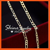 9K 9CT YELLOW GOLD GF 2mm FIGARO CHAIN CURB LINK SOLID MENS WOMENS NECKLACE GIFT