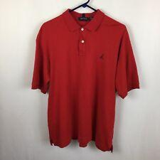 Nautica Mens Polo Shirt XL Red 2-Button Style Navy Collar Stripe Sailboat Logo