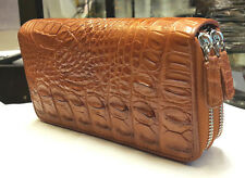 GENUINE CROCODILE WALLETS SKIN LEATHER BONE TWO ZIPPER WOMEN'S CLUTCH ORANGE BAG