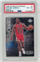 1998 Upper Deck BLACK DIAMOND SINGLE #5 MICHAEL JORDAN HOF PSA 8 Graded