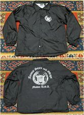 Famous Stars & Straps Mens Black Windbreaker Coach Jacket Maiden USA L Spellout
