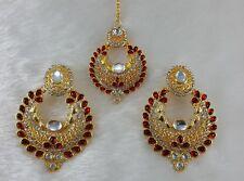 Kundan Dark Red Single Line Real Look Gold Plated Stone Party Wear Earring &Tika