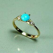 14k solid yellow gold 5mm cabochon natural Sleeping beauty Turquoise ring size 7