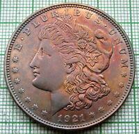 UNITED STATES 1921 P MORGAN DOLLAR, PHILADELPHIA MINT SILVER COLOUR TONED