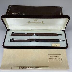 Vintage Hallmark Wenge Pen & Pencil DACO Wood Set w/ Original Box & Card