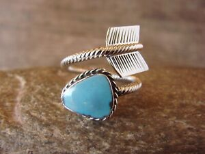 Navajo Sterling Silver Turquoise Arrow Ring, Adjustable Size 7-10