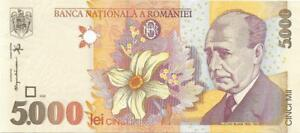 ROMANIA 5000 Lei 🌎🌺 P- 107b, UNC; 1998 🌺 Daffodil 🌺🌎 RARE Variety Issue