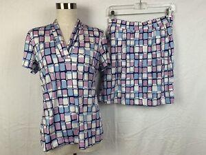 Tail Womens Size Small Tennis Golf Top Skort Set Pink Blue Geometric Activewear
