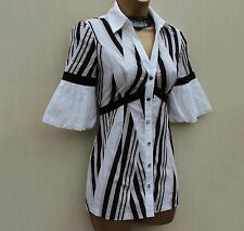 KAREN MILLEN Soft Cotton WHITE Black STRIPE BUTTON Summer Top SHIRT BLOUSE SZ 6