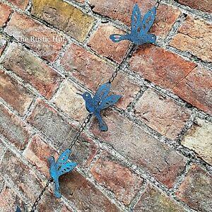 Bird Chain Hanging Garden Decoration Ornament - Blue Distressed Metal