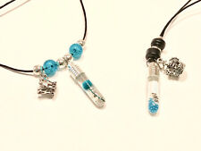 Couple necklce! Teal. YOUR Aniversary inside the bottle pendant! King & Queen!!!