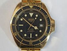 Heuer GOLD Plated Diver 980.022 Vintage Quartz Swiss Made