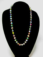 """VINTAGE VENETIAN MORETTI MILLEFIORI HAND KNOTTED 9mm BEAD NECKLACE 24"""""""