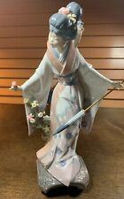 "Lladro 1451 ""Teruko"" In Original Box Girl with an Umbrella As Is"