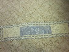 """Vintage Blue And Beige 54"""" X 12"""" Table Runner Collectibles Table Linens Textiles"""