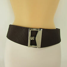 New women belt elastic black / brown wide quilted hip high waist fashion Small M