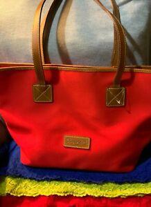 Dooney & Bourke Red Canvas Brown Leather Trim Snap Shoulder Bag Tote & Hobo