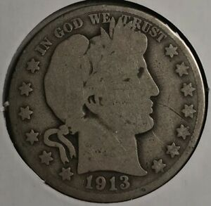 1913-D US Silver Barber Half Dollar (Denver)