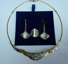 Russian Severnaya Chern Gilded Sterling Silver 925 Set of necklace earrings ring