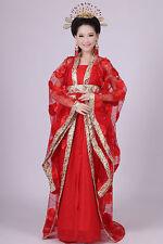 Elegant Chinese Ancient Traditional Infanta Dramaturgic Costume Robe Dress Red
