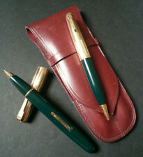 RARE ancienne PARURE WATERMAN IDEAL STYLO PLUME + PORTE MINES PLAQUE OR Vert