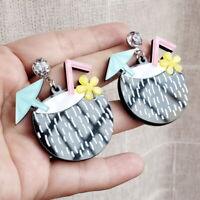 Women Boho Dangle Drop Stud Earring Acrylic Resin Ear Coconut Earrings Jewelry
