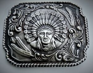 Sterling Silver Trophy Indian Chief Western Americana Belt Buckle.