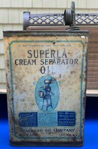1920's Superla Cream Separator Oil Standard Oil Company Half Gallon Square Can