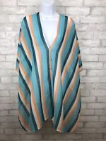 New Mia De Andrea Semi-Sheer Cover Up Button Shirt Dolman Sleeves Striped Size L