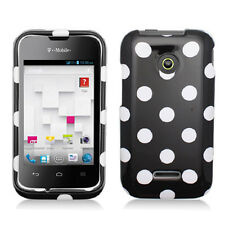 For Huawei Glory H868C HARD Protector Case Snap On Phone Cover Black Polka Dots